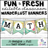 Travel Classroom Decor: Editable Banners/Pennants