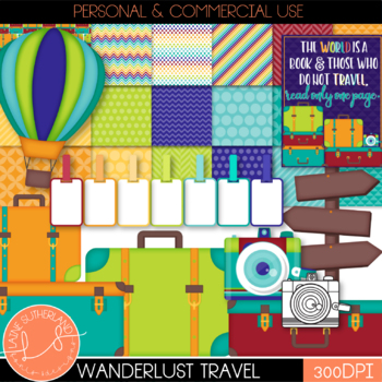 Wanderlust Travel Digital Paper and Clip Art Set