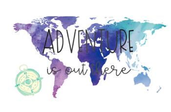 Wanderlust (watercolor travel themed) Classroom Decor