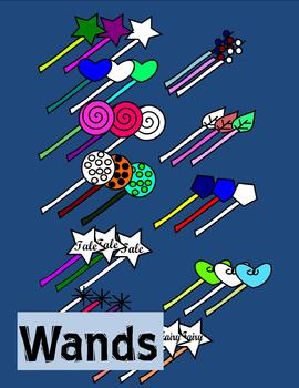 Wands Clip Art - 33 pieces - black line included