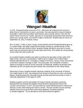 Wangari Maathai Article Biography and Assignment