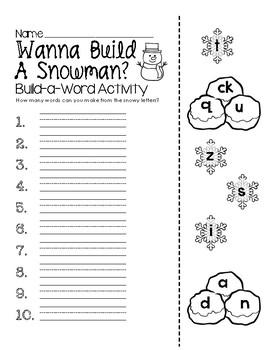 Wanna Build a Snowman? -  Build-a-Word Activity