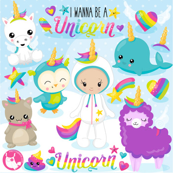 Wannabe unicorn clipart commercial use, vector graphics  - CL1078