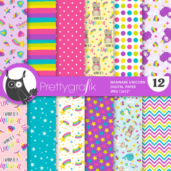 Wannabe unicorn papers, commercial use, scrapbook papers - PS856