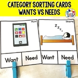 Want v Need Task Cards Sorting Categories