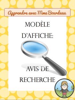 Wanted Ad Poster - FRENCH; Modèle d'affiche - Avis de recherche
