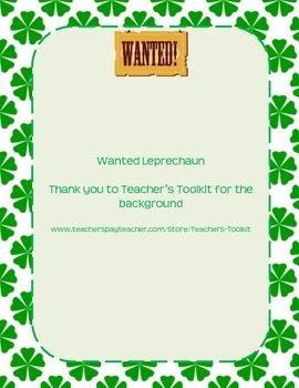Wanted Leprechaun Writing Activity