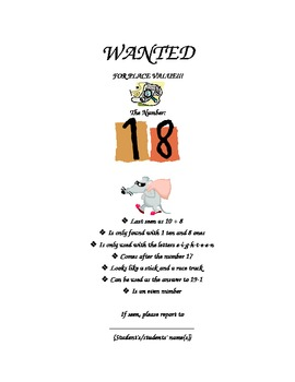"""""""Wanted"""" Math Poster"""