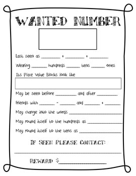 Wanted Number Poster Activity Place Value Review