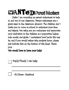 Wanted: Parent Volunteers