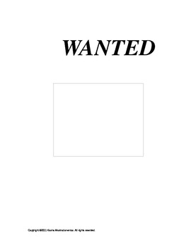 Wanted Poster Activity Template and Rubric