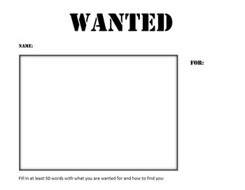 Back to School ELA Wanted Poster Activity