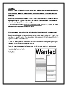Wanted Poster -  Character Study Worksheet