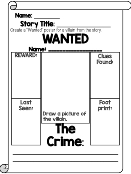 Wanted Poster Graphic Organizer