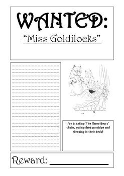 Wanted Poster Template Goldilocks and the Three Bears