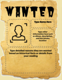 Wanted Poster Template Google Slides for Google Classroom