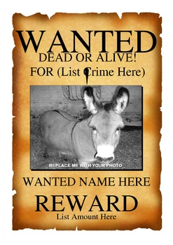 photo relating to Printable Wanted Poster titled Sought after Poster Template (Term Document)