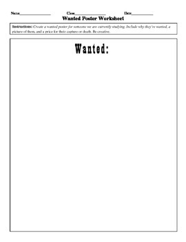 Wanted Poster Worksheet