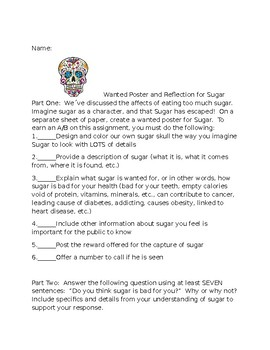 Wanted Poster and Reflection for Sugar