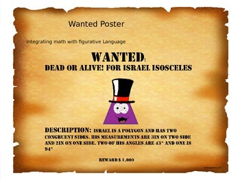 """Wanted Poster"" for Angles, Triangles, and Alliterations"