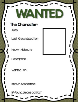 Wanted Poster for Fictional Characters