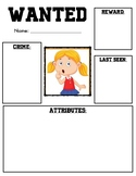 Wanted Poster for teaching character traits