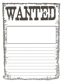Wanted Poster (perfect for middle grades, lots of writing space!)