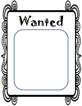 Wanted Poster (teaching story characters)