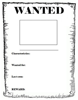 Wanted Poster template by Miss. DB | Teachers Pay Teachers