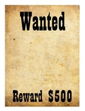 Wanted Poster/Sign Wild Wild West Unit