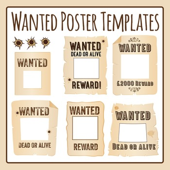 Wanted Posters Templates Clip Art Pack for Commercial Use by ...