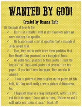 Wanted By God Disciple Posters By Deanna Roth Tpt