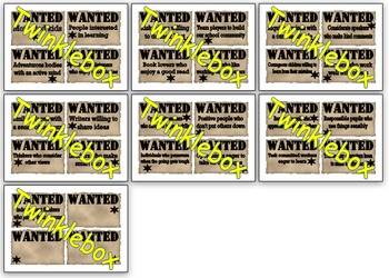 Wanted posters for pupil qualities