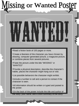 Wanted/Missing Poster Book Report