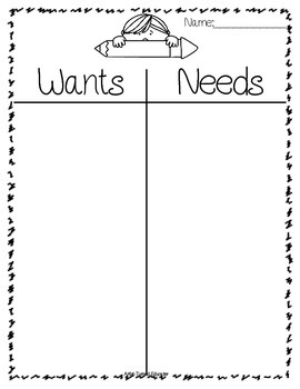 Wants & Needs (Holiday Freebie)