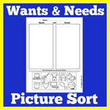 Wants and Needs Sort | Wants and Needs Activity | Wants and Needs Worksheet