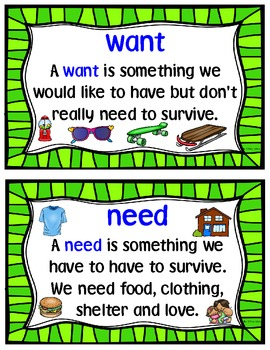 Wants and Needs Activities