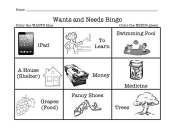 Wants and Needs Activity- Bingo