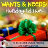 Wants and Needs Christmas / Holiday Mini Unit