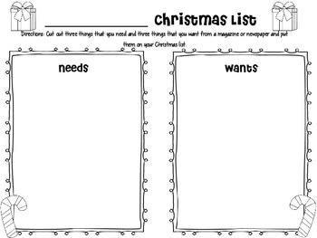 Wants and Needs Christmas List