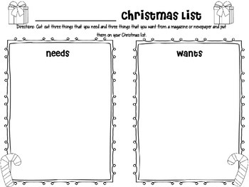 Wants and Needs Christmas List