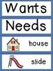 Wants and Needs Emergent Reader & Pocket Chart Cards Kindergarten Social Studies