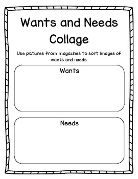 Wants and Needs Journal