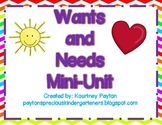 Wants and Needs Mini Unit - Common Core Aligned K.G.2.2, K.E.1.1