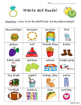 Wants and Needs Sorting Worksheet