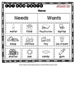 Wants and Needs Sorts |  Category Sort | Cut and Paste Worksheets