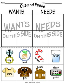 """Wants and Needs"" Worksheets"