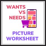 Wants vs. Needs Economics Picture Worksheet
