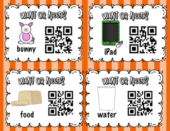 Wants vs. Needs QR Code Self Checking Task Cards