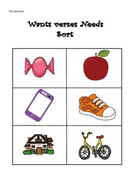Wants vs. Needs Sort